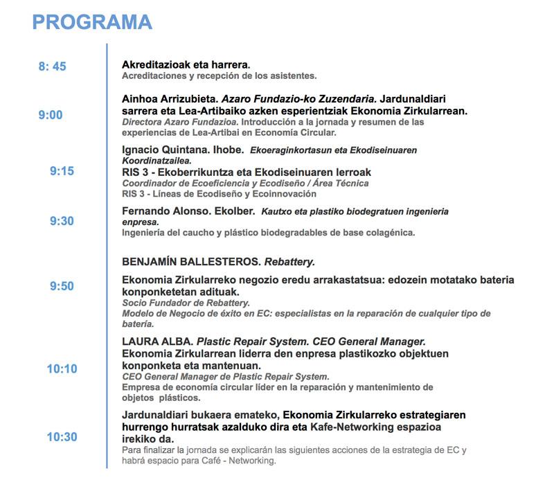 Jornada de Economía Circular en Lea-Artibai, organizada por Azaro Fundazioa