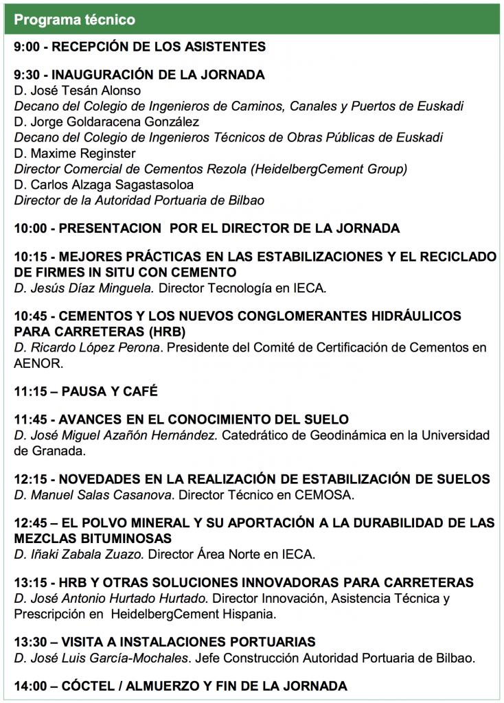Jornada técnica sobre materiales tratados con nuevos conglomerantes hidráulicos para carreteras @ Puerto de Bilbao. Edificio de Oficinas Generales Muelle de la Ampliación (Acceso Ugaldebieta) | Santurtzi | País Vasco | España