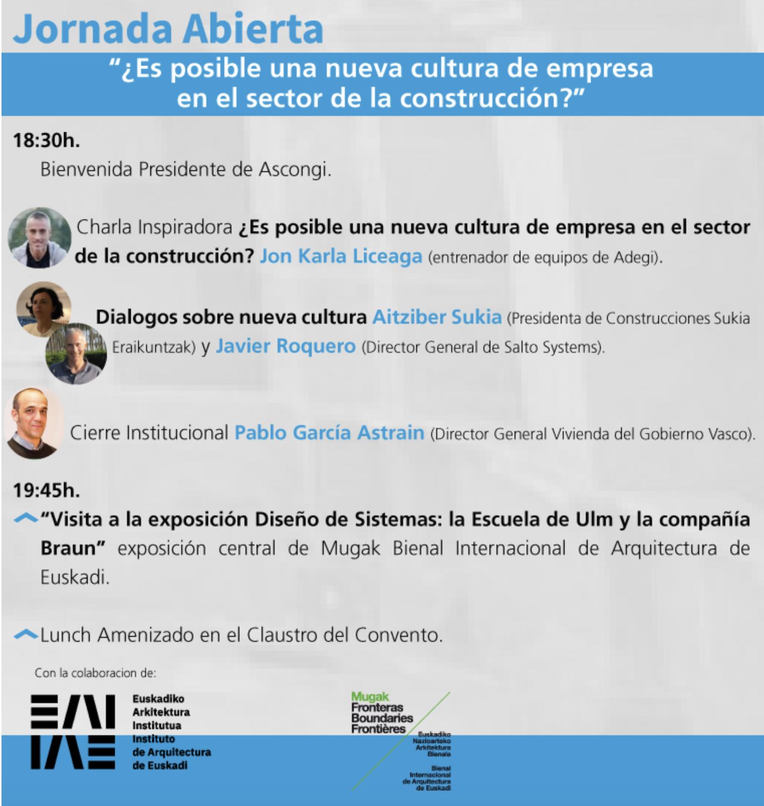 Jornada abierta 2019: ¿Es posible una Nueva Cultura de Empresa en el Sector de la construcción? @ Instituto de Arquitectura de Euskadi