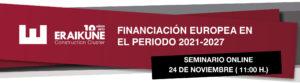 Seminario sobre financiación europea en el periodo 2021-2027